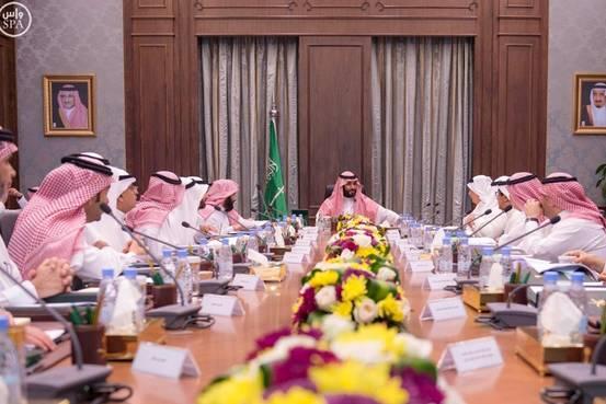 周日,沙特吉达,沙特副王储萨勒曼主持沙特经济及发展事务委员会的一场会议。