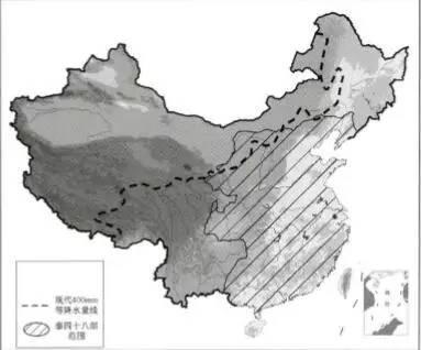 年降雨400mm等值线与秦西北边郡位置关系