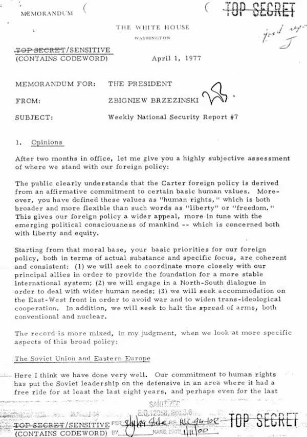 布热津斯基在这份报告第一次系统提出卡特政府外交政策核心