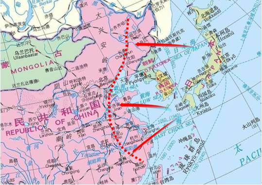 1300km射程的巡航导弹覆盖范围示意