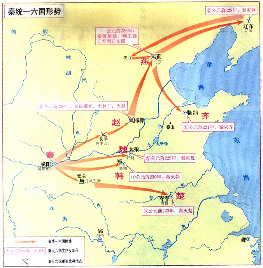 秦统一六国形势图