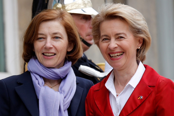 French Minister of the Armed Forces Florence Parly greets German Defence Minister Ursula von der Leyen upon her arrival at Hotel de Brienne in Paris