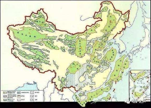 中国盆地示意图